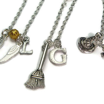 Harry Potter Necklace Set ~ 3 Best Friends Necklaces, Harry Potter Fan Jewelry, Friendship Necklaces, Xmas Gift For 3 Friends, Initial Gift