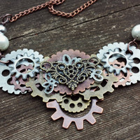 Steam punk gears statement necklace pearl handmade antique retro vintage multi metal copper chain Victorian style whimsical