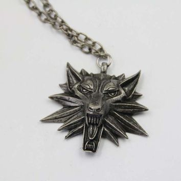 pendant master of the Witcher 3 medallion necklace wolf head necklace choose color Halloween necklace and pendants