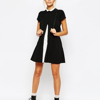 Unif Open Front Mini Merlina Dress With Contrast Collar Detail at asos.com