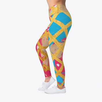 Pink Marble Geometric Pattern Leggings