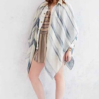 Thick + Thin Stripe Open Poncho- Blue Multi One