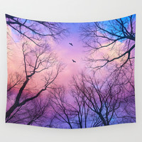 A New Day Will Dawn (Day Tree Silhouettes) Wall Tapestry by Soaring Anchor Designs