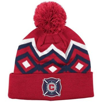 Mens adidas Chicago Fire SC Red Cuffed Knit Hat With Pom