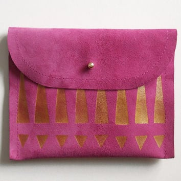 CLUTCH // small size // fuschia suede with golden tribal print