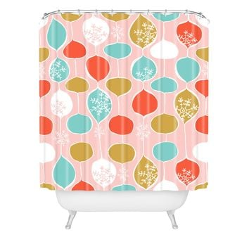 Heather Dutton Snowflake Holiday Bobble Chill Pink Shower Curtain