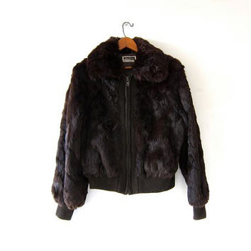 Vintage Rabbit Fur Coat. Fur Bomber Jacket. Dark Brown Fur Jacket.