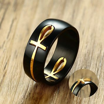 Men's Two Tone Cut out Ankh Egyptian Cross Ring for Men Stainless Steel Detachable Allah Black Religious Band Male Jewelry