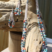 Santa Domingo Turquoise Coral Lapis Heishi Shell Navajo Native American Necklace