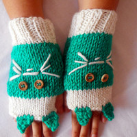 Gloves Handmade, Crocheted Gloves, Mittens, Gloves Teal, Cats, Fingerless Gloves, Winter Gloves, Hand Warmers,Gloves,Women Gloves,Gift Ideas
