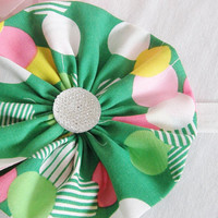 BIG Green White Pink Yellow Extra Large Flower Headband Flower Rhinestone Accessory Choose Your Size Or Clip