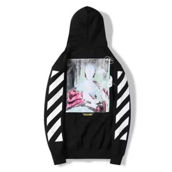 Off White New fashion letter stripe painting print couple hooded long sleeve sweater Black