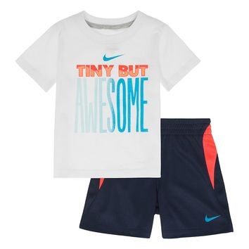 Nike ''Tiny But Awesome'' Tee & Shorts Set - Baby Boy, Size:
