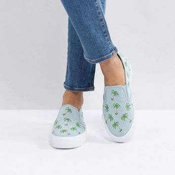 ASOS DAGO Palm Tree Embroidered Sneakers at asos.com