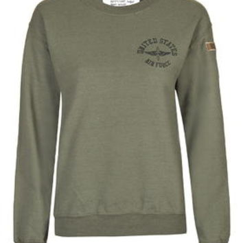 Airforce Sweatshirt by Tee and Cake - Khaki