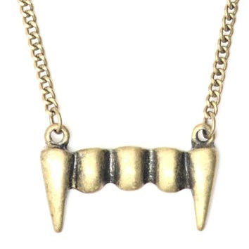 Vampire Fangs Necklace Antique Gold Tone NG02 Gothic Halloween Pendant Fashion Jewelry