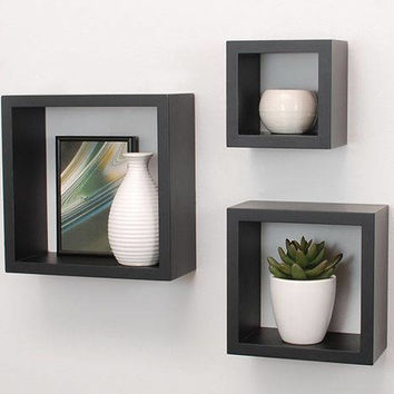 Wooden cube square floating shelves / floating shelf / floating shelves / set of 3 shelves