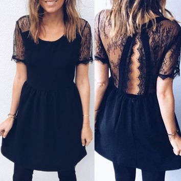 Short Sleeve Lace Slim One Piece Dress [205192790031]