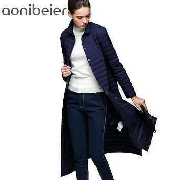 2017 Snow Winter Jacket Women Fashion 90 % White Duck Down Coat Slim Fit Thin Knee Solid Single Breasted Jacket Slim Trench Coat
