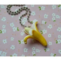 Polymer Clay Miniature Banana Foodie Necklace