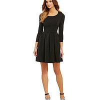 Sugarlips Dame Allison Solid Fit-and-Flare Dress - Black