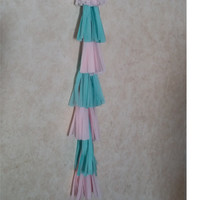 "1 Tissue paper tassel Garland.(45"") This is ready to ship. Colors Aqua and blush. Custom orders welcome!"