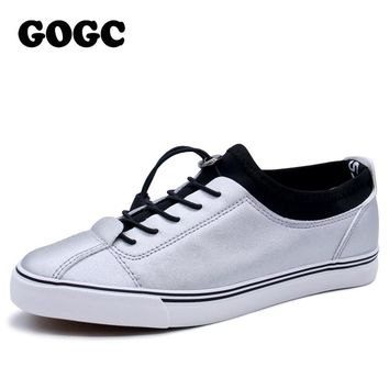 GOGC 2017 Women Flat Shoes Breathable Ladies Leather Shoes Summer Spring Creepers Casual Slip on Women Shoes Slipony Women New