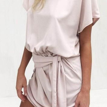 White Plain Irregular Round Neck Fashion Cotton Blend Mini Dress