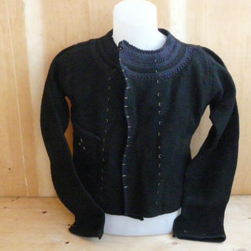 Antique 19th Century Hand Woven Embroidered Folk costume Men Jacket old wool
