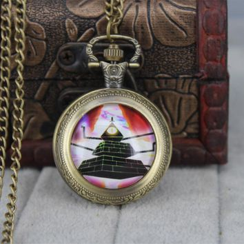 Drama Gravity Falls Mysteries BILL CIPHER WHEEL pocket watch quartz antique Necklace dr who chain 1pcs/lot mens Steampunk bronze