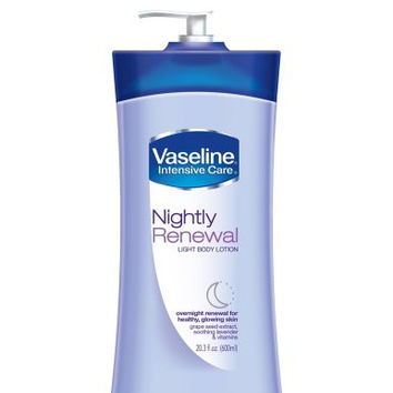 Vaseline Intensive Care Nightly Renewal Light Body Lotion, 20.3 fl oz (600 ml)