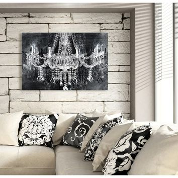Fashion Wall Decor Crystal Chandelier Black and White Contemporary Canvas Wall Art Print for Home Decor and Office