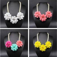 Hawaii style Fashion Pearl chain Flower Pendants Necklaces Statement Jewelry For Women = 1958341060