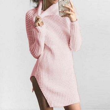 Women Casual Loose Irregular Sexy Split Long Jumper Knitwear 2017 Autumn Turtleneck Long Sleeve Solid Knitted Sweater Pullover