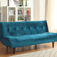 Luxury Transitional Sofa Bed with Teal  Velvet Upholstery