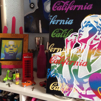 California love painting,canvas,rainbow,street art,stencil art,spray paint,comic woman,hearts,urban,graffiti ,multicoloured,artwork,pop art
