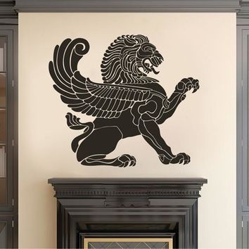 ik2384 Wall Decal Sticker antique lion with wings living room bedroom