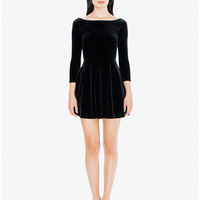 Velvet Long Sleeve Skater Dress | American Apparel