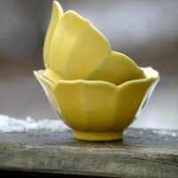 Cheery Yellow Lotus Bowls by TheBeardedMoose on Etsy