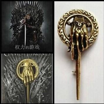 Factory Outlet Good Quality New Fashion Song Of Ice And Fire Game Of Thrones Hand Of The King Scepter Badge Brooch