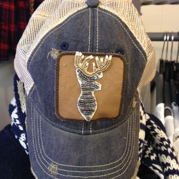 Judith March Denim Hat w/Silver Beaded Deer Patch
