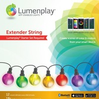 Lumenplay® App-Enabled Lights – G40 Extender String (25 RGB LED Lights), Black Wire