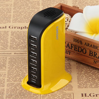 Kinkoo 406-Port Family-Sized Desktop USB Charger for iPhone iPad Air 2 Samsung Galaxy Nexus HTC Nokia and More (Yellow)
