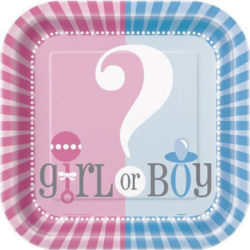 "9"" Square Gender Reveal Party Plates, 12ct"