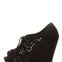 Speed Limit 98 Fender Black Cutout Lace-Up Platform Wedges