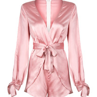 Pink Deep V-neck Bowknot Detail Wrap Front Romper Playsuit