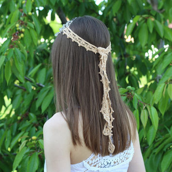 Bohemian Beaded Headpiece Necklace Headband Hair Piece Gemstone Quartz Golden Crocheted Boho Gypsy Woodland Elvish Elven Hippie Jewelry