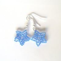 Handmade Blue Beaded Star Earrings! Blue Star Earrings, Star Jewellery, Beaded Earrings, Dangle Earrings, Dangly Stars