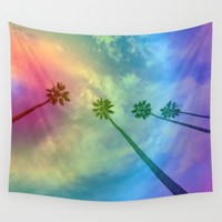 California Rainbow Palm Trees Wall Tapestry by leahdaniellle