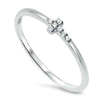 .925 Sterling Silver Cross Sideways CZ Ring Ladies and Kids Size 2-10 Midi Thumb Toe
